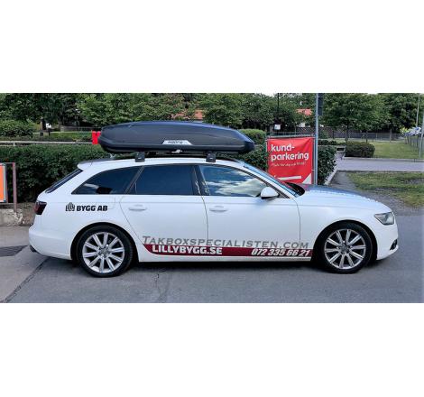 Takbox Hapro Trivor 560 Antracit helmatt på Audi A4 Avant